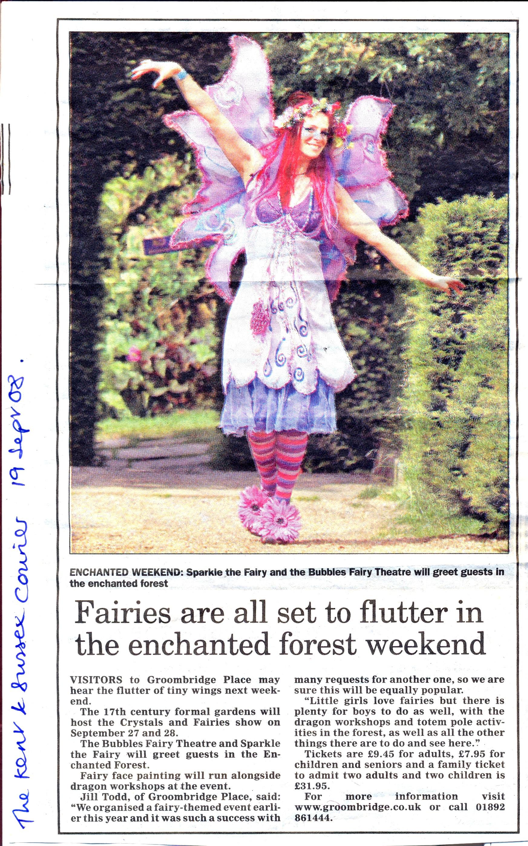 Felicity Fairy at Groombridge Place, Tunbridge Wells.