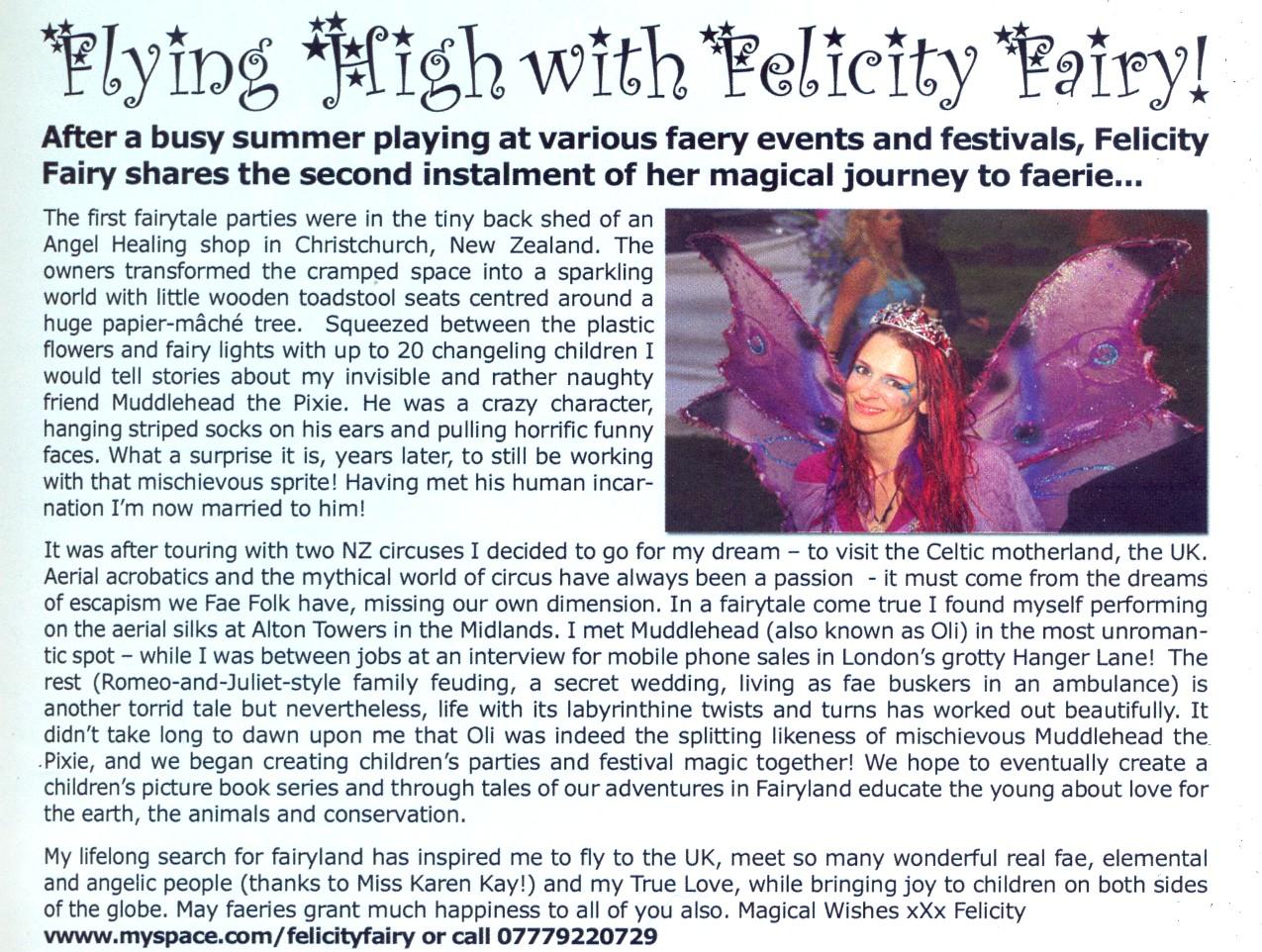Felicity Fairy in FAE Magazine