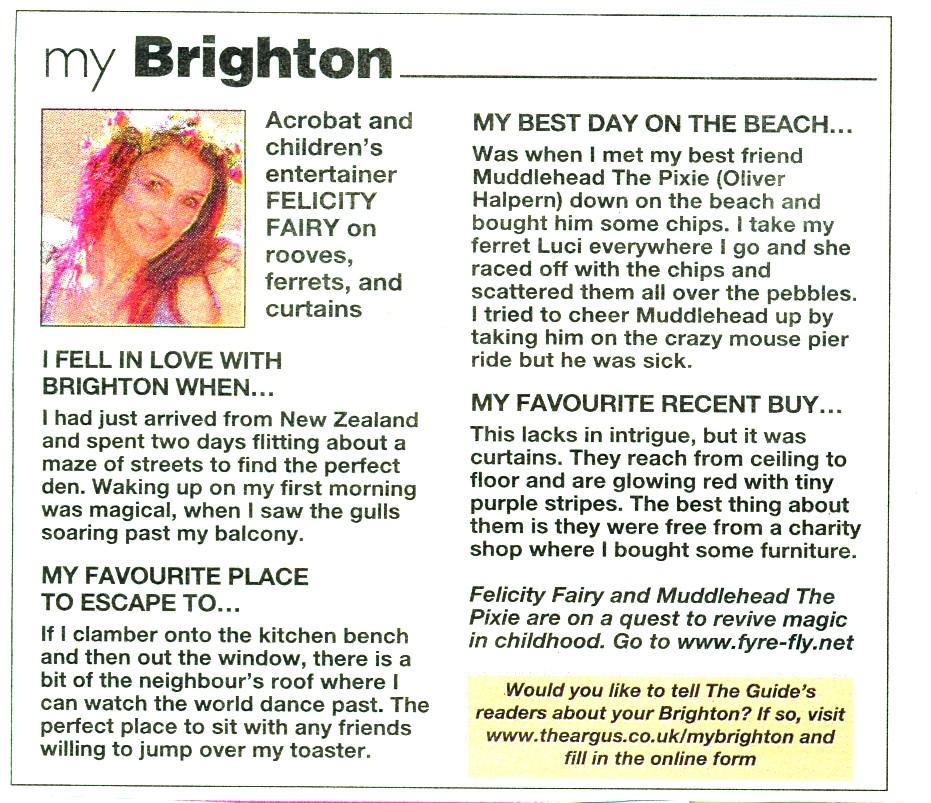 Felicity Fairu featured in the Brighton Argus