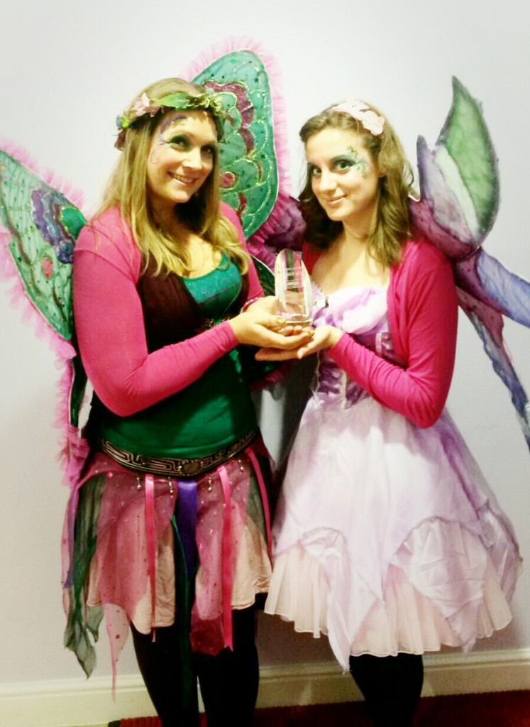 Willow Fairy and Florence Fiore Fairy accepting the Kallikids Awards for UK's Best Children's Entertainer'